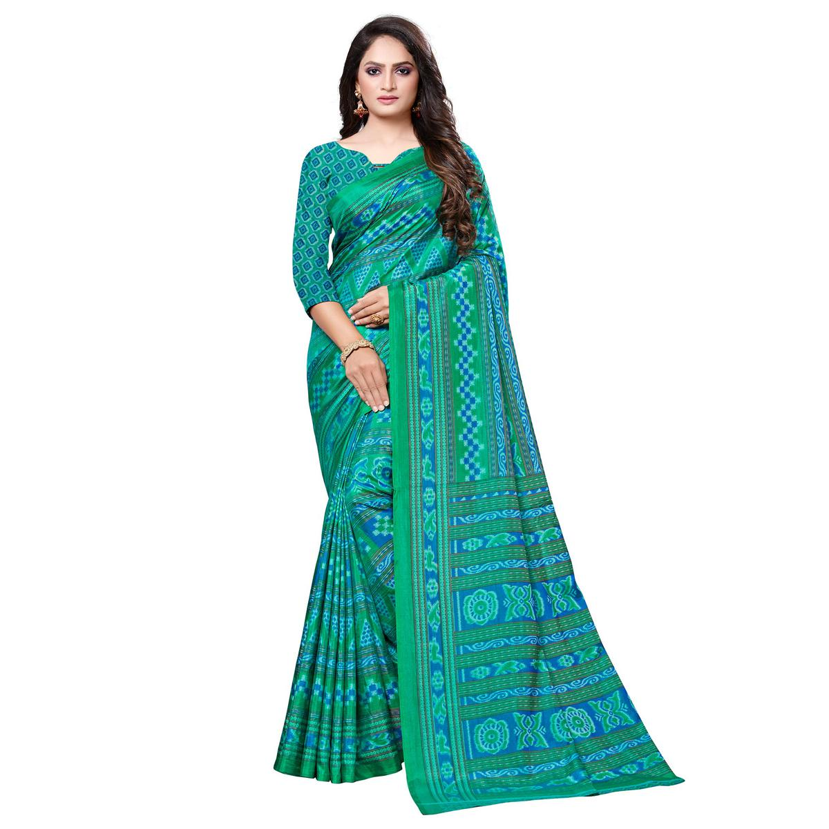 Adorable Green Colored Casual Printed Art Silk Saree
