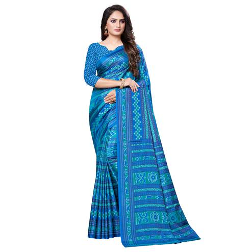 Glorious Blue Colored Casual Printed Art Silk Saree