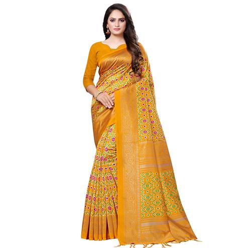 Charming Mustard Yellow Colored Casual Printed Art Silk Saree