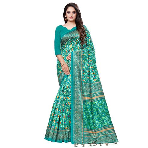 Jazzy Green Colored Casual Printed Art Silk Saree