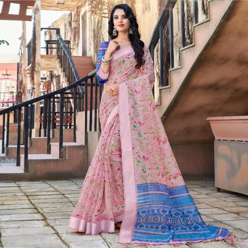 Majesty Pink Colored Casual Floral Printed Linen Saree