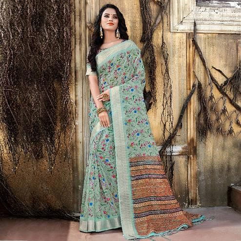 Impressive Blue Colored Casual Floral Printed Linen Saree