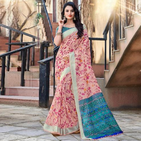 Mesmerising Pink Colored Casual Floral Printed Linen Saree