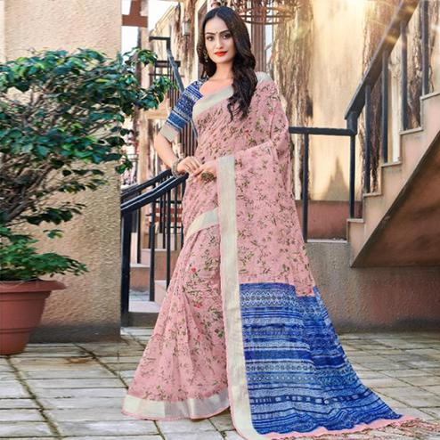 Pleasance Light Pink Colored Casual Floral Printed Linen Saree