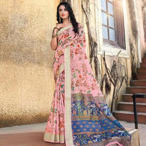 Ravishing Light Pink Colored Casual Floral Printed Linen Saree