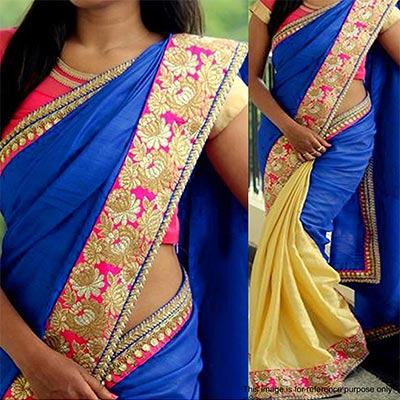 Blue - Beige Sequins Work Silk Saree