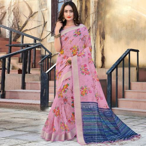 Staring Light Pink Colored Casual Floral Printed Linen Saree