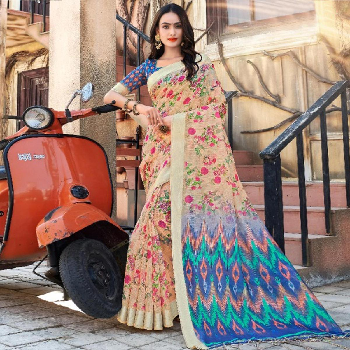 Dazzling Peach Colored Casual Floral Printed Linen Saree
