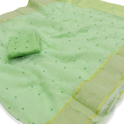 Prominent Mint Green Colored Party Wear Pearl Work Kota Doria Saree