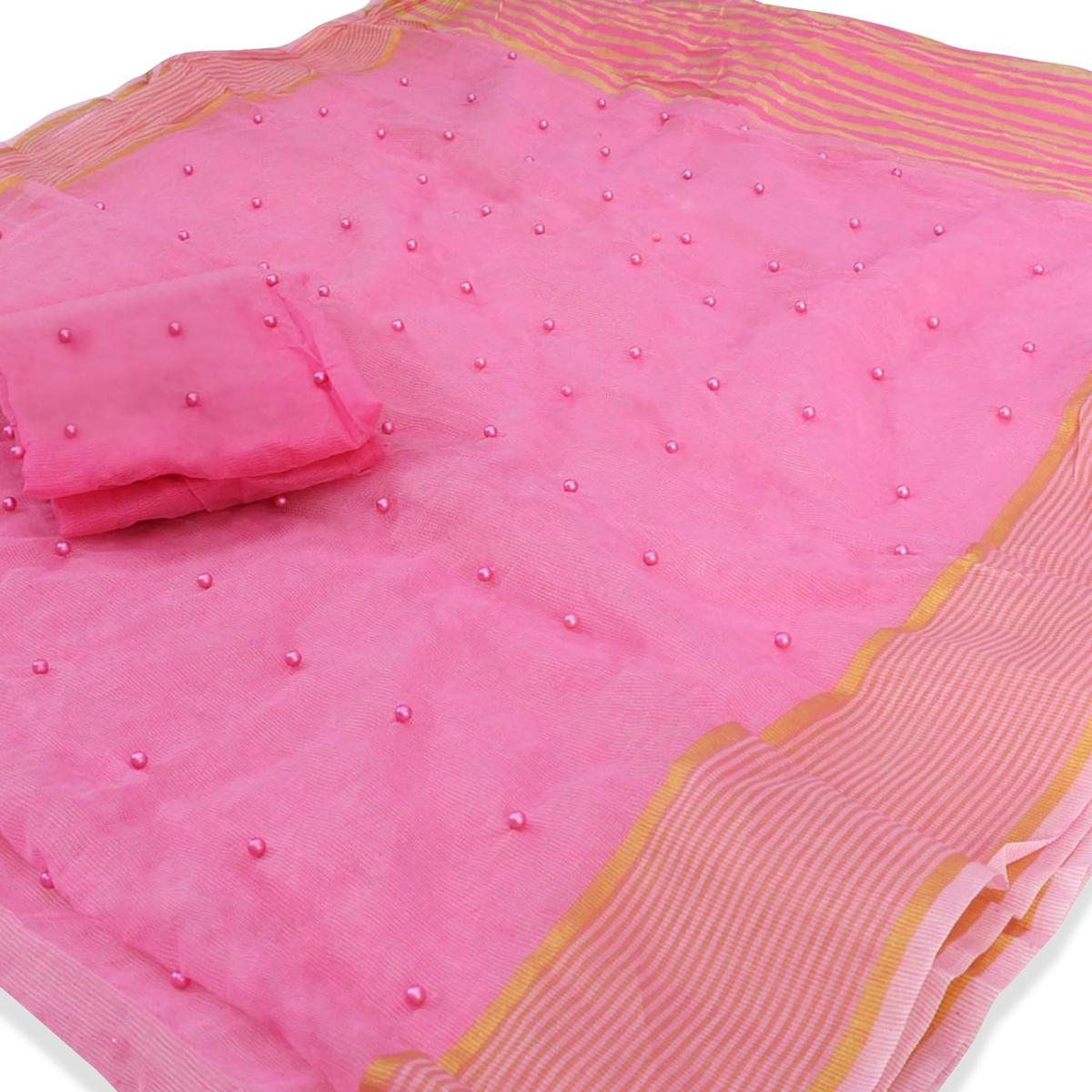 Appealing Pink Colored Party Wear Pearl Work Kota Doria Saree