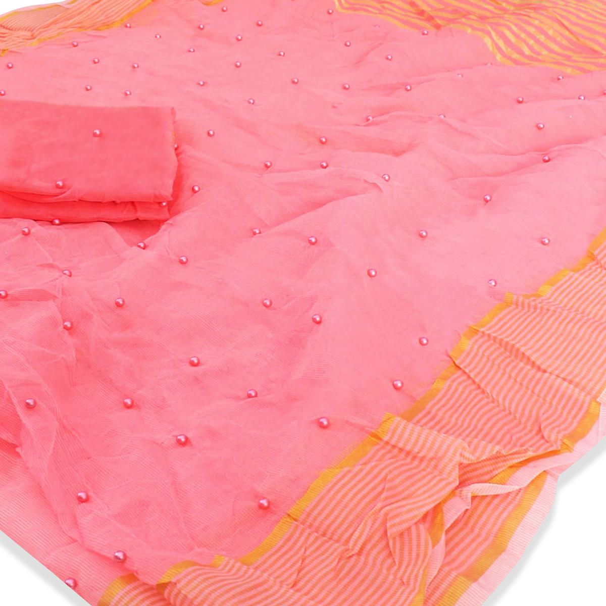 Groovy Light Pink Colored Party Wear Pearl Work Kota Doria Saree