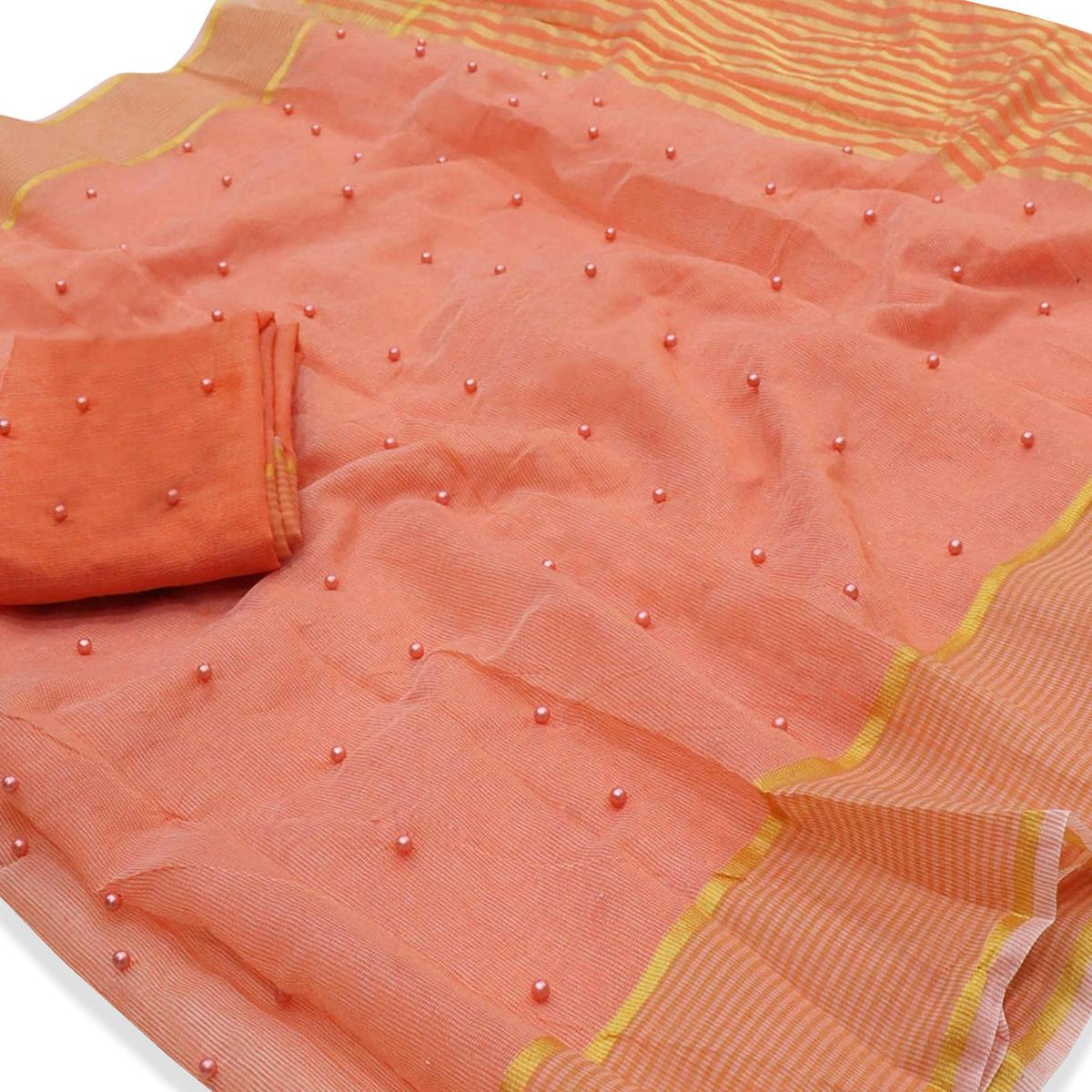 Adorning Peach Colored Party Wear Pearl Work Kota Doria Saree