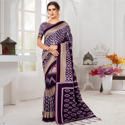 Intricate Purple Colored Casual Chervon Printed Cotton Saree