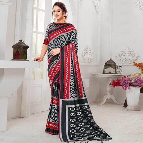 Arresting Black-Grey Colored Casual Chervon Printed Cotton Saree