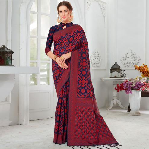 Exotic Navy Blue-Red Colored Casual Printed Cotton Saree