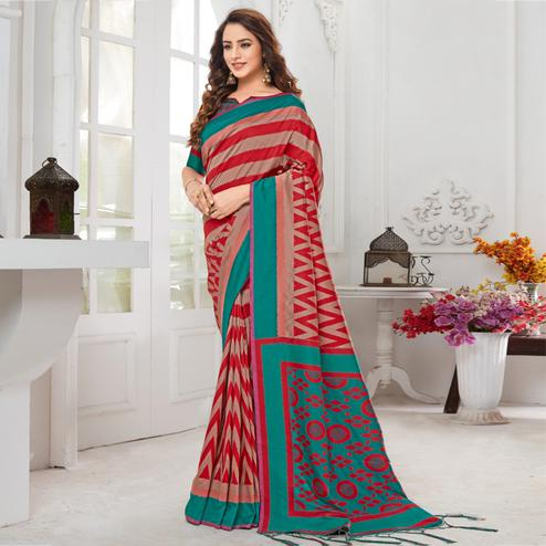 Sophisticated Beige-Red Colored Casual Chervon Printed Cotton Saree