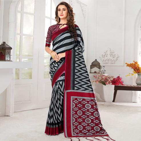 Trendy Grey-Black Colored Casual Chervon Printed Cotton Saree