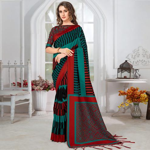 Radiant Teal Green-Black Colored Casual Chervon Printed Cotton Saree