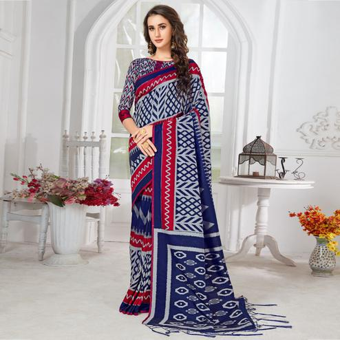 Glowing Navy Blue-Grey Colored Casual Chervon Printed Cotton Saree