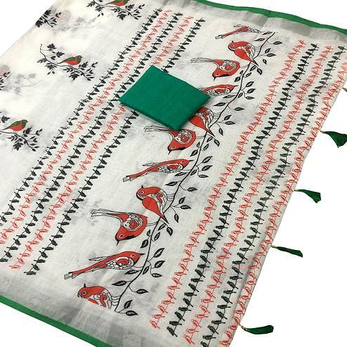 Classy White-Green Colored Casual Wear Printed Linen saree