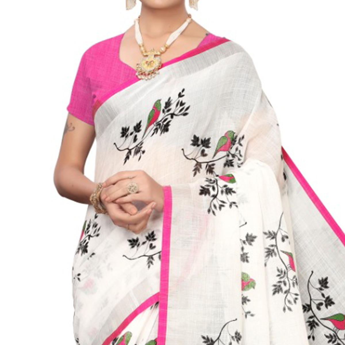 Arresting White-Pink Colored Casual Wear Printed Linen saree