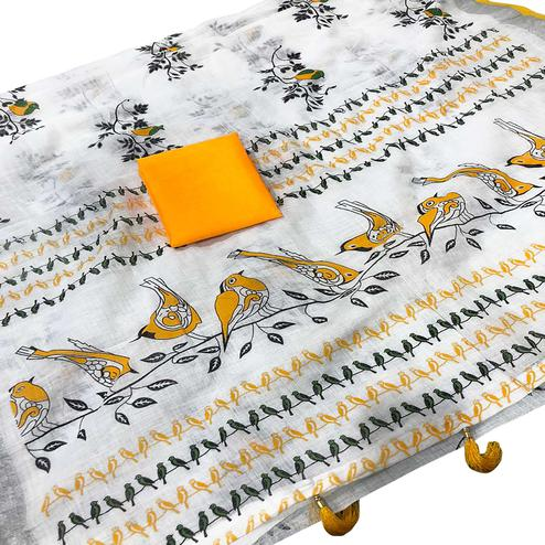 Intricate White-Yellow Colored Casual Wear Printed Linen saree