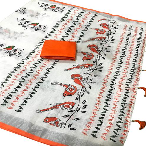 Glorious White-Orange Colored Casual Wear Printed Linen saree