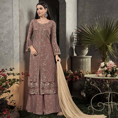 Prominent Brown Colored Partywear Embroidered Georgette Palazzo Suit