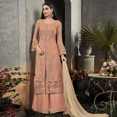 Capricious Peach Colored Partywear Embroidered Georgette Palazzo Suit