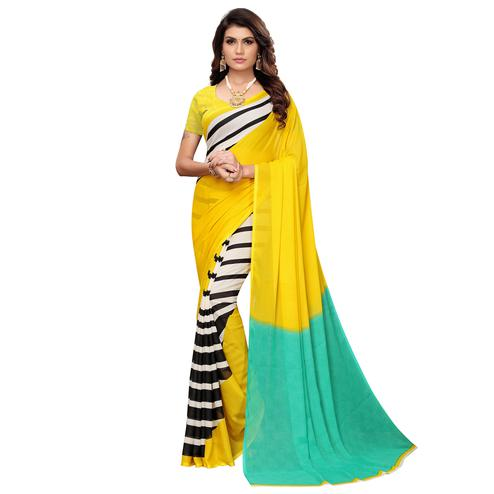 Adorable Yellow-Multi Colored Casual Wear Printed Georgette Saree