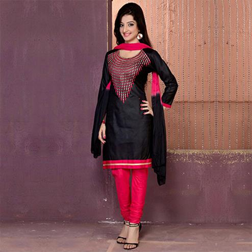 Black - Pink Chanderi Cotton Dress Material