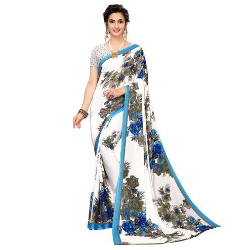 Adorable White-Blue Colored Casual Wear Printed Georgette Saree