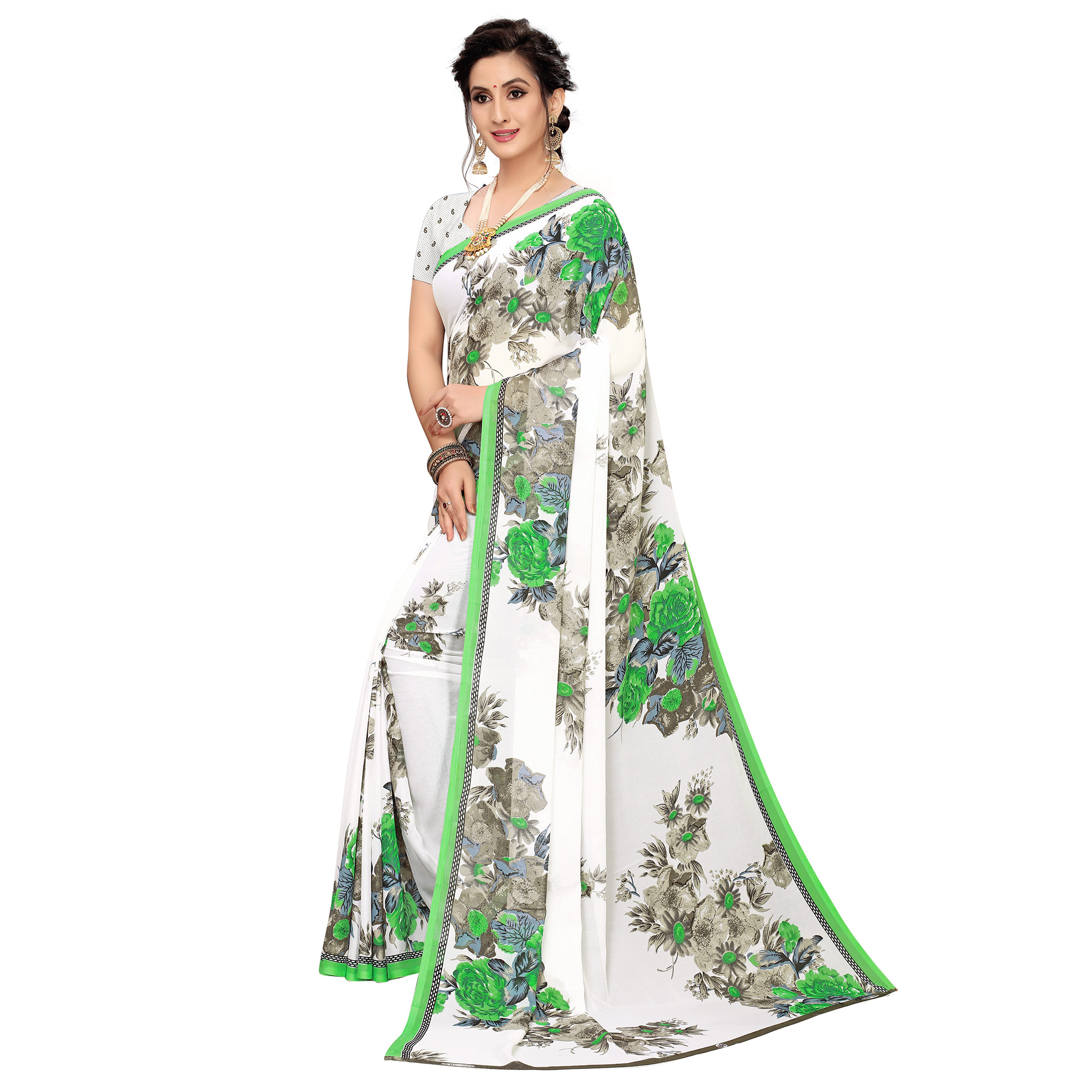 Glorious White-Green Colored Casual Wear Printed Georgette Saree