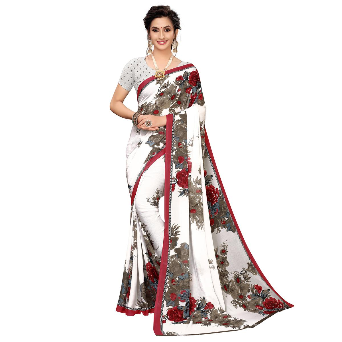 Attractive White-Maroon Colored Casual Wear Printed Georgette Saree