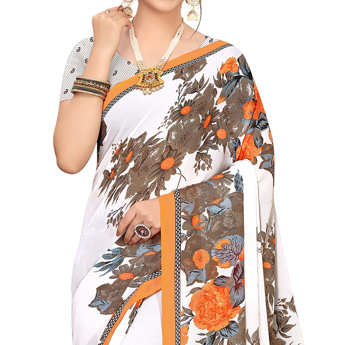 Beautiful White-Orange Colored Casual Wear Printed Georgette Saree