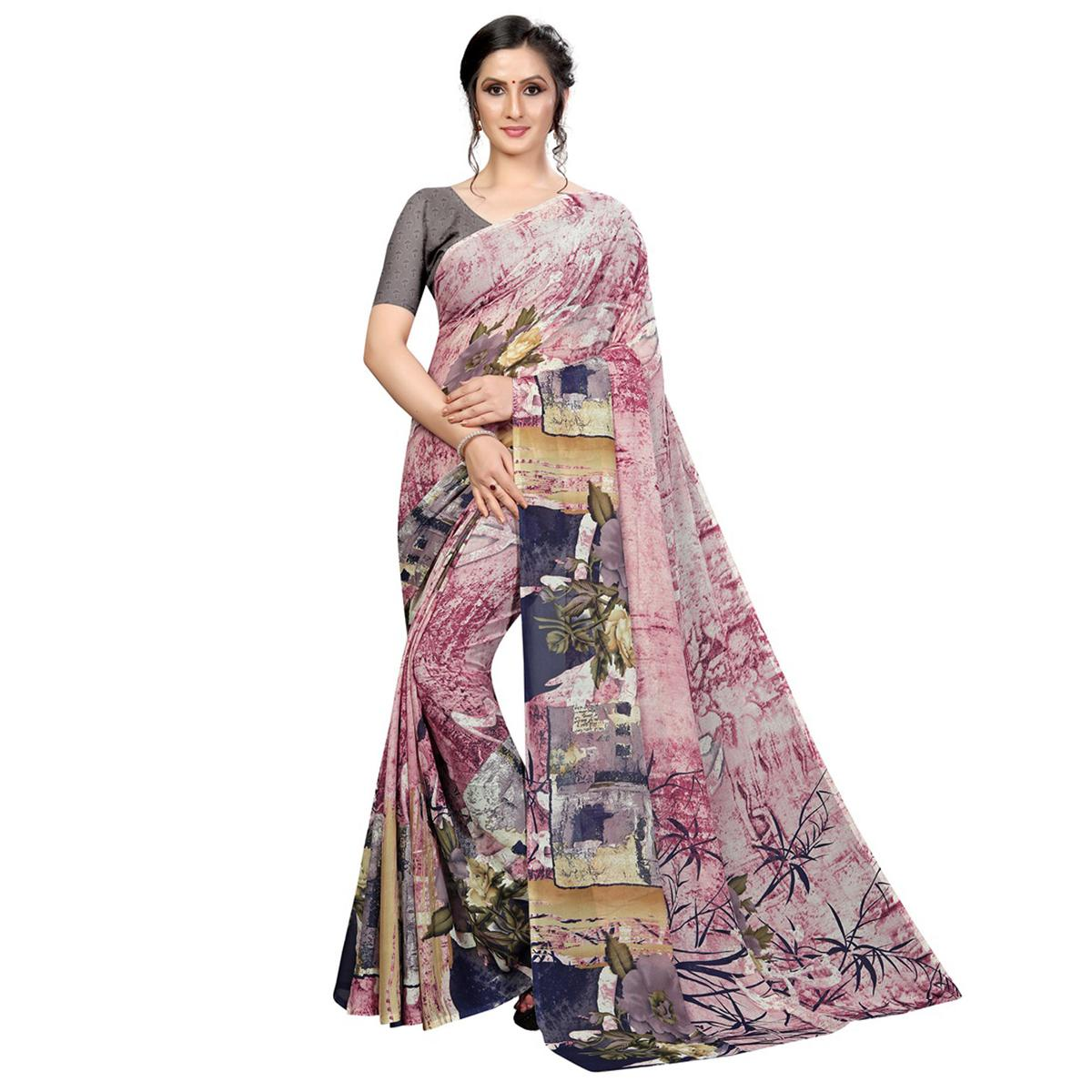 Attractive Pink-Multi Colored Casual Wear Printed Georgette Saree