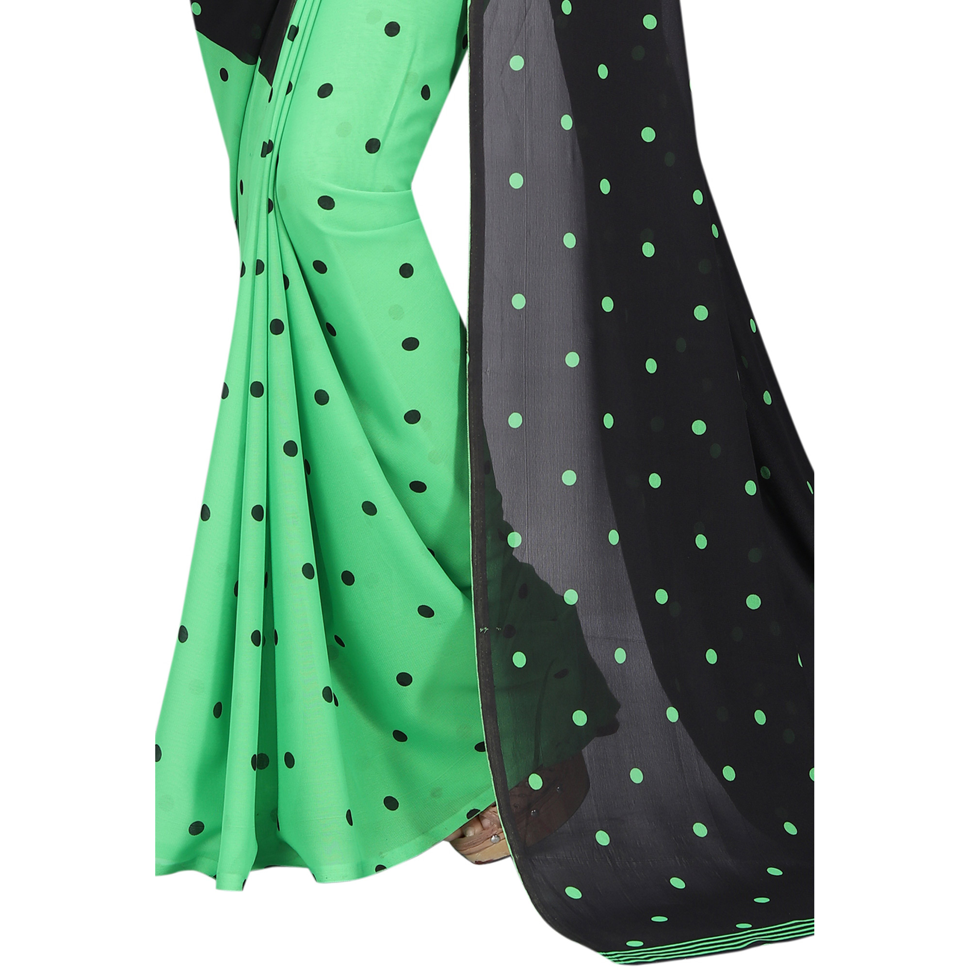 Graceful Green-Black Colored Casual Wear Printed Georgette Half & Half Saree