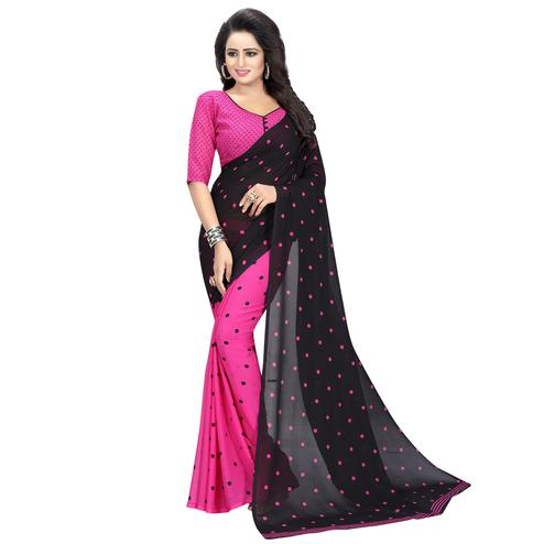 Blooming Pink-Black Colored Casual Wear Printed Georgette Half & Half Saree