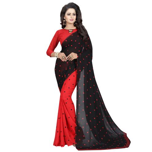 Charming Black-Red Colored Casual Wear Printed Georgette Half & Half Saree