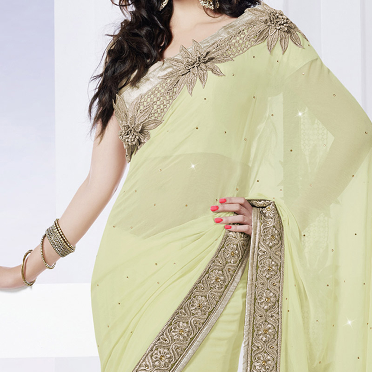 Light Olive Green Stone Work Saree