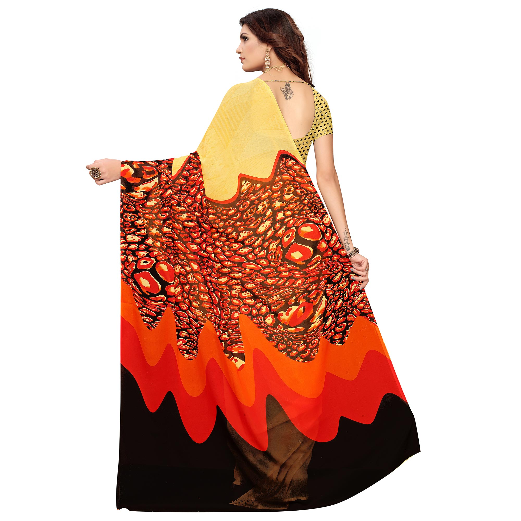 Graceful Yellow Colored Casual Wear Printed Georgette Saree