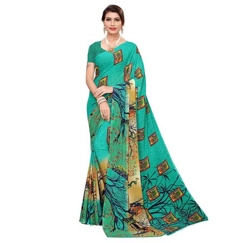 Blooming Green Colored Casual Wear Printed Georgette Saree