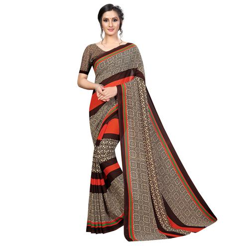Delightful Coffee Brown Colored Casual Wear Printed Georgette Saree