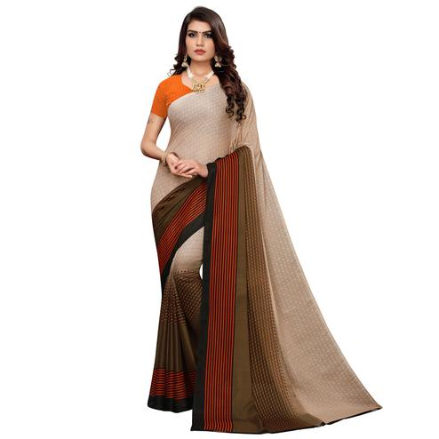 Captivating Brown Colored Casual Wear Printed Georgette Saree