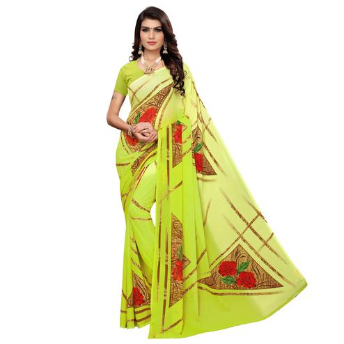 Innovative Lemon Green Colored Casual Wear Printed Georgette Saree