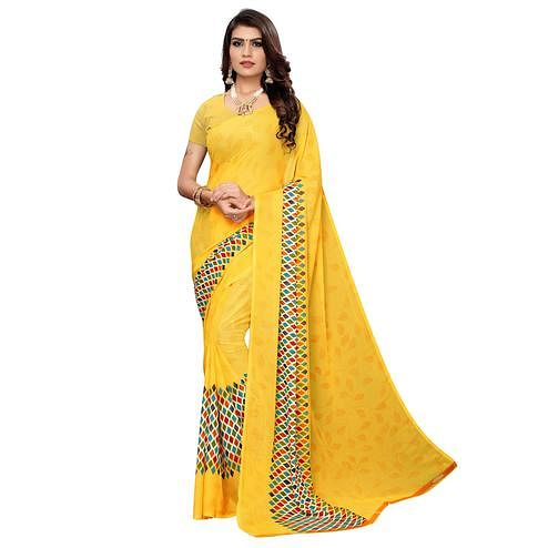 Fantastic Mustard Yellow Colored Casual Wear Printed Georgette Saree