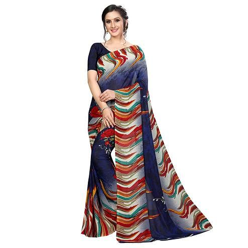 Amazing Navy Blue Colored Casual Wear Printed Georgette Saree
