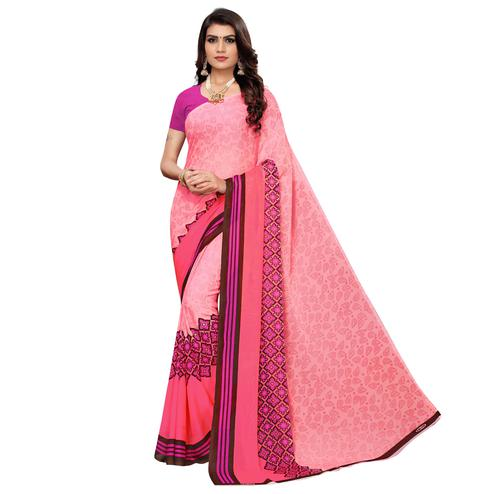 Gorgeous Pink Colored Casual Wear Printed Georgette Saree