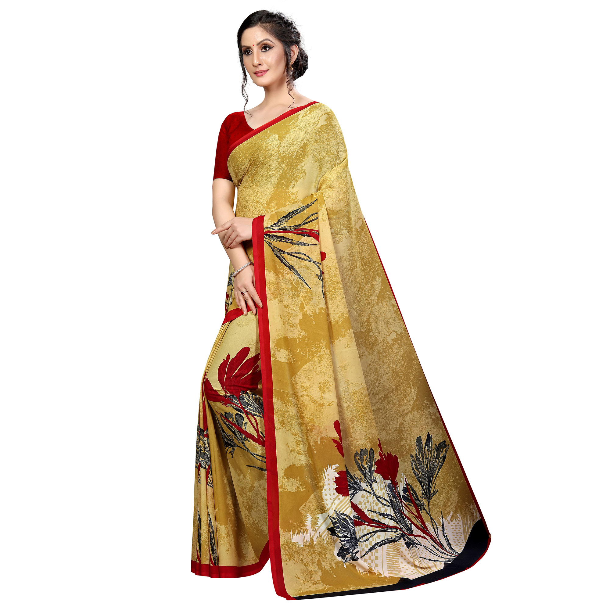 Ideal Beige Colored Casual Wear Printed Georgette Saree