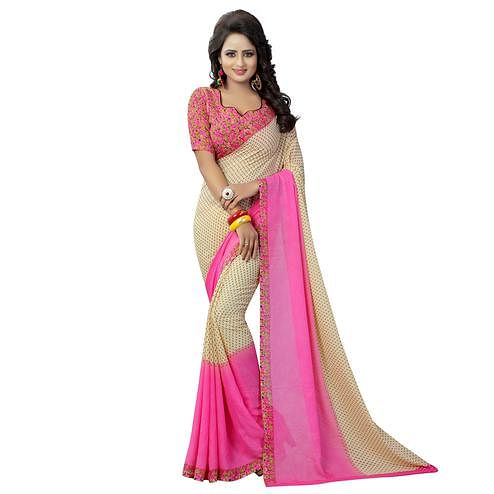 Delightful Beige-Pink Colored Casual Wear Printed Georgette Saree